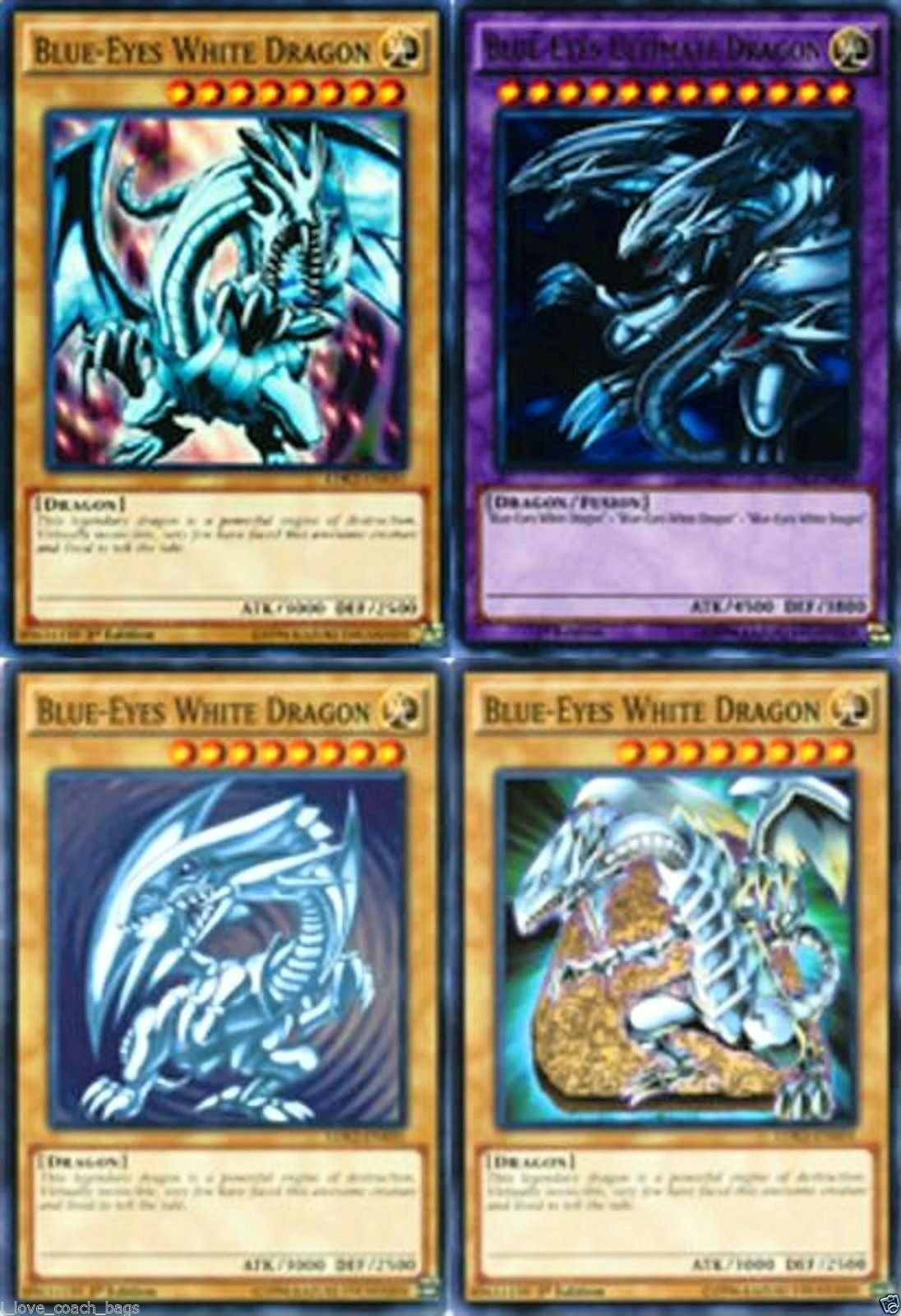 blue eyes white dragon mint 4 different artworks card set common
