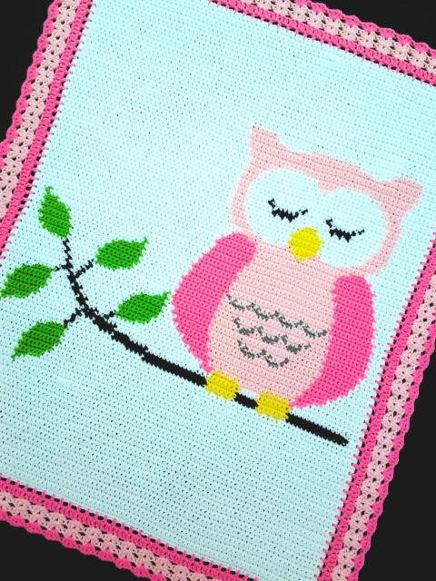 Crochet Patterns Owl Sleeping On A Tree Branch Baby Afghan Pattern