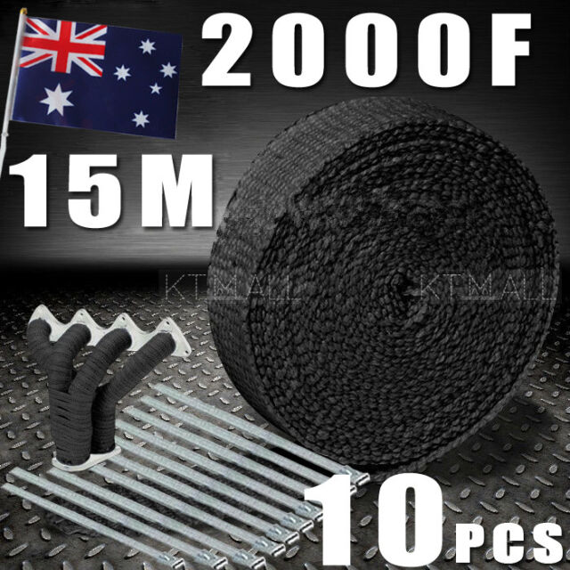 AU Local   WRAP 50MM X 15M + 10 STAINLESS STEEL TIES 2000F BLACK EXHAUST HEAT