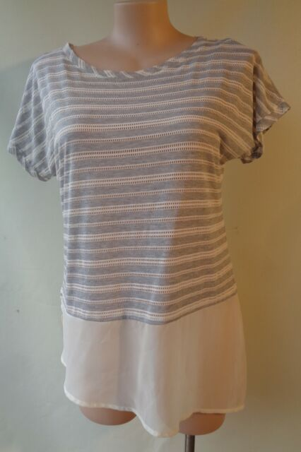 Brown Sugar size 14 grey white top NWT New short sleeve free postage