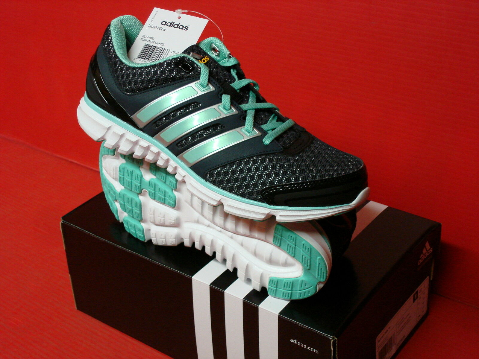 Adidas falcon pdx nero / ray rosa / argento le scarpe da corsa g99093