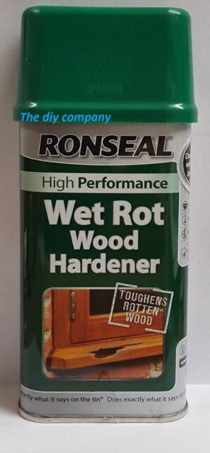 ronseal wet rot 250ml 500ml wood hardener high performance toughens rotten wood