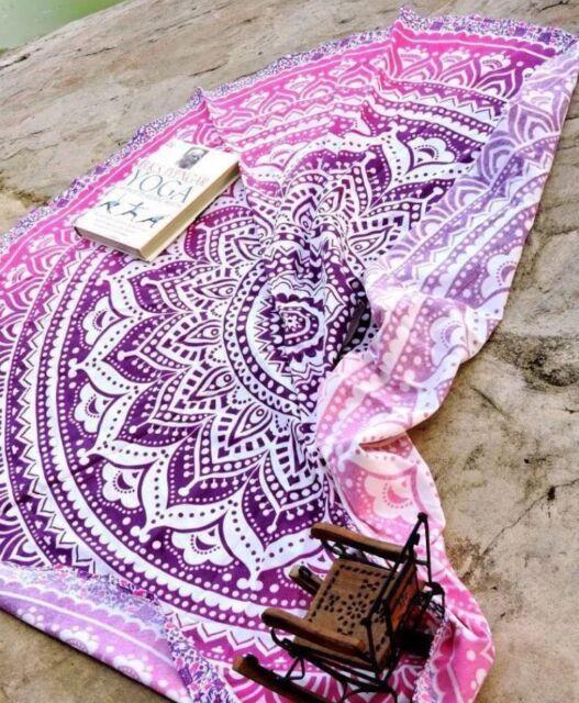 Indian Round Ombre Mandala Beach Throw Hippie Yoga Mat Bohemian Roundie Tapestry