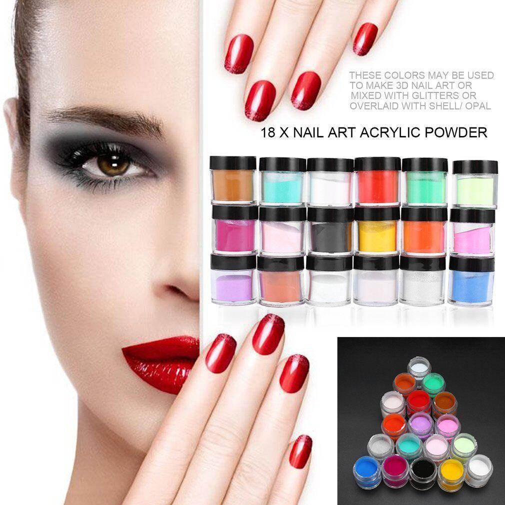 18 Colors Acrylic Uv Polish Kit Decorate Manicure Powder Nail Art