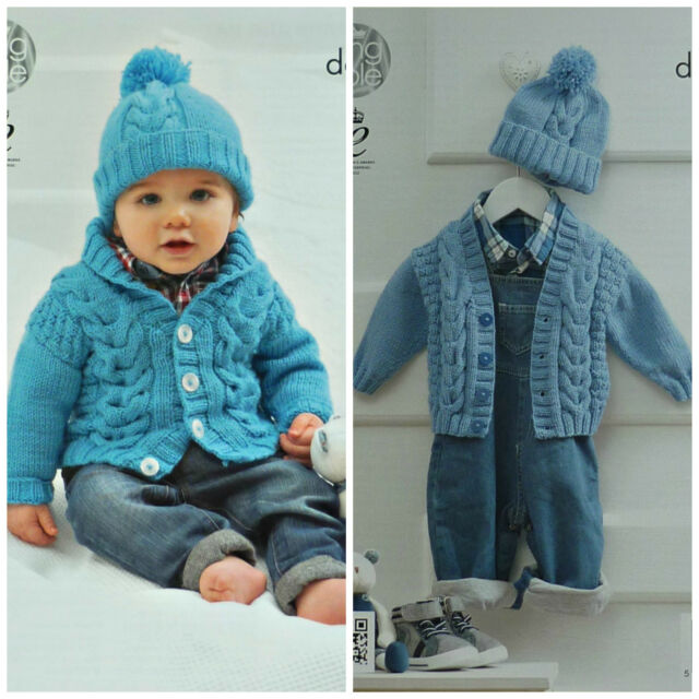 King Cole Dk Knitting Pattern 4198 Babies Cabled Cardigan Hat Ebay