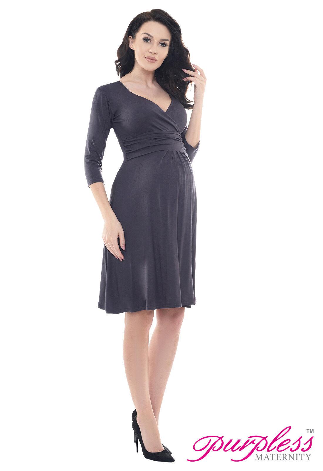 Purpless Maternity 3/4 Sleeve Pregnancy V-neck Casual Dress Dresses ...