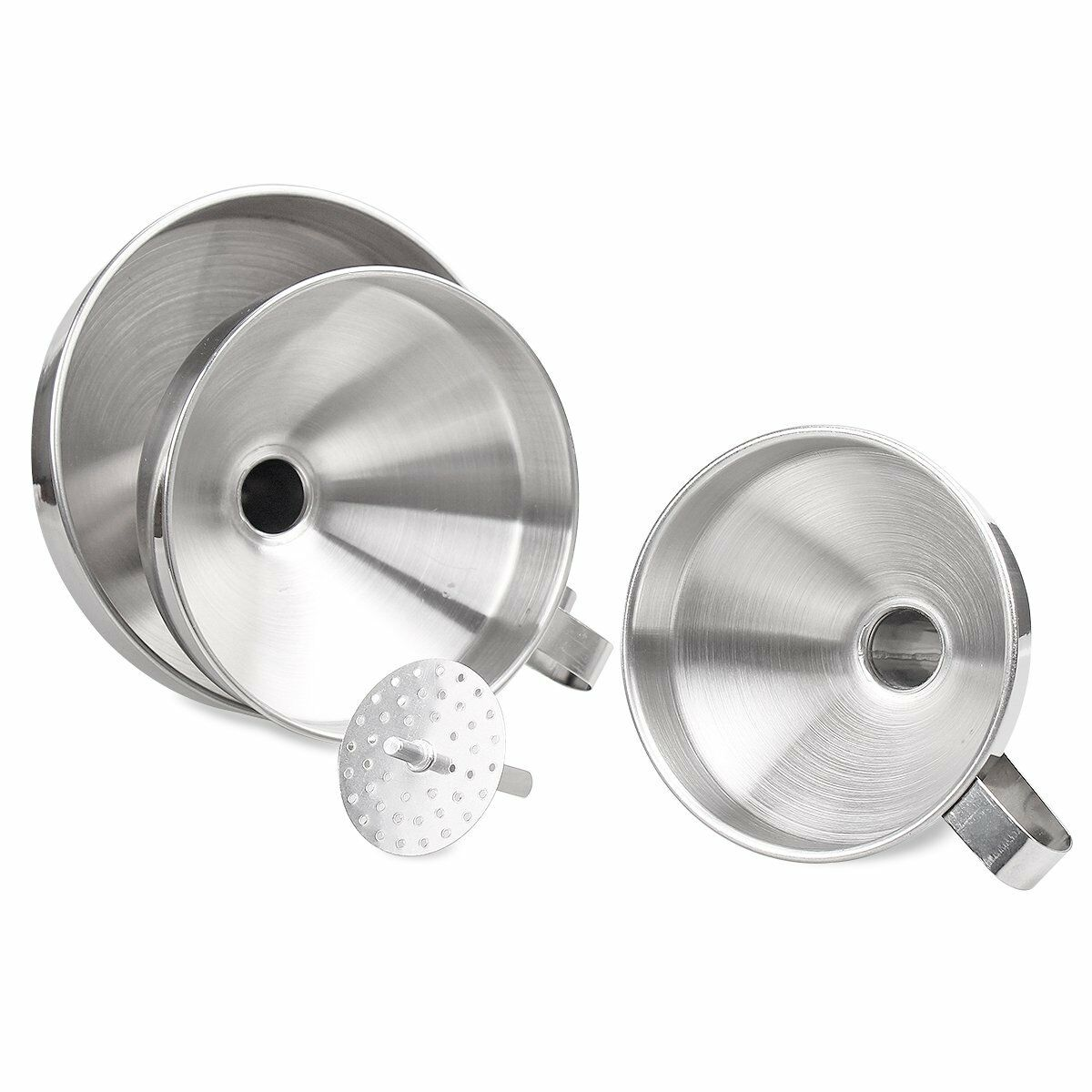 Stainless Steel Kitchen Funnel With Removable Strainer Set of 3 ...