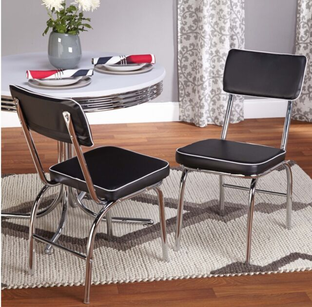 Chairs for Dining Room Black Retro Faux Leather Set of 2 Diner ...