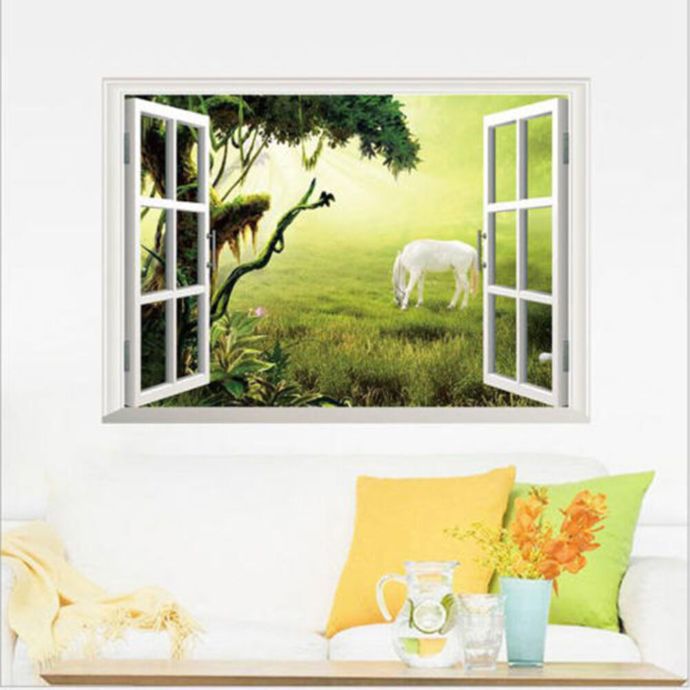 3d Window Grassland Horse View Scenery Art Wall Sticker Decals Home ...