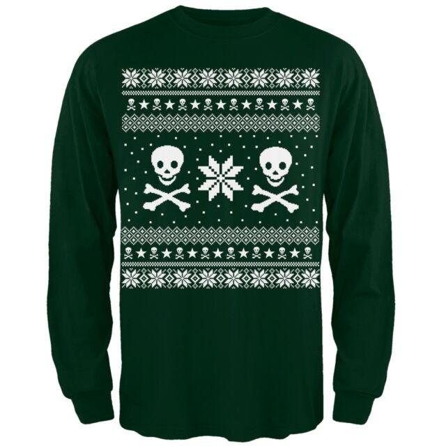 skull crossbones ugly christmas sweater adult green long sleeve shirt - Ugly Christmas Sweater Ebay