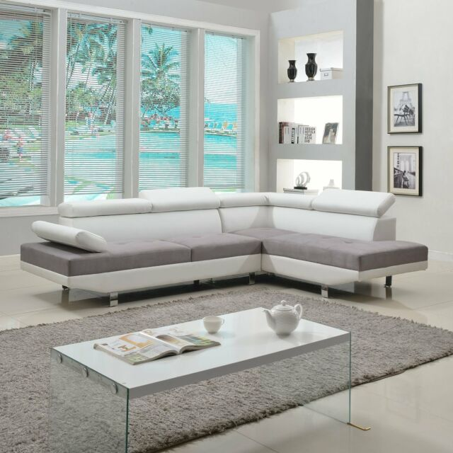 2 Piece Modern Contemporary White Faux Leather Sectional Sofa ...