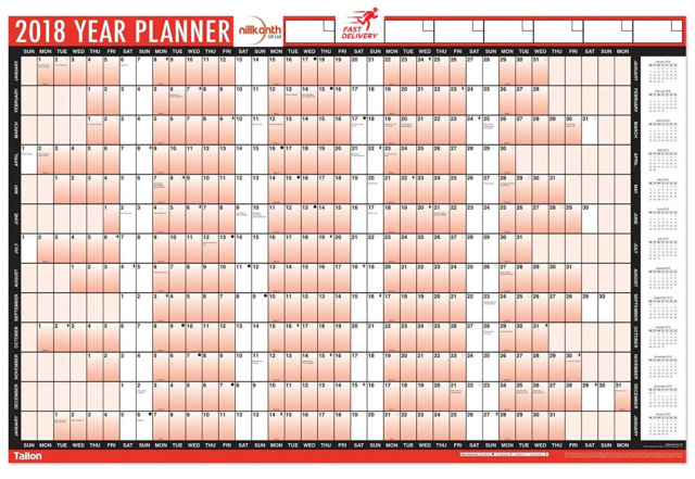 RED2018 A1 Laminated Yearly Wall Planner Calendar Inc Wipe Dry Pen&Sticker Dots