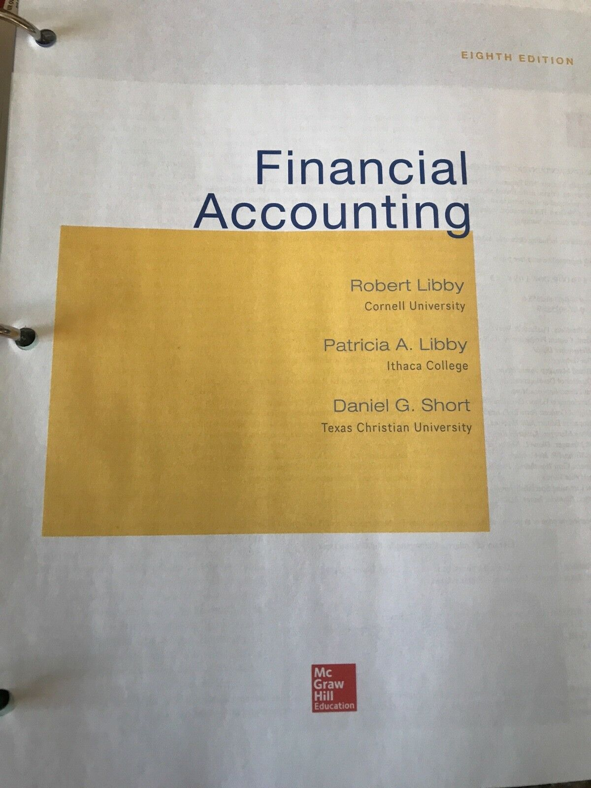 Financial accounting by patricia libby robert libby and daniel financial accounting by patricia libby robert libby and daniel short 2013 hardcover 8th edition ebay fandeluxe Choice Image