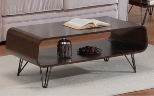 Retro Coffee Table Mid Century Modern Vintage Walnut Tables Open Storage Display