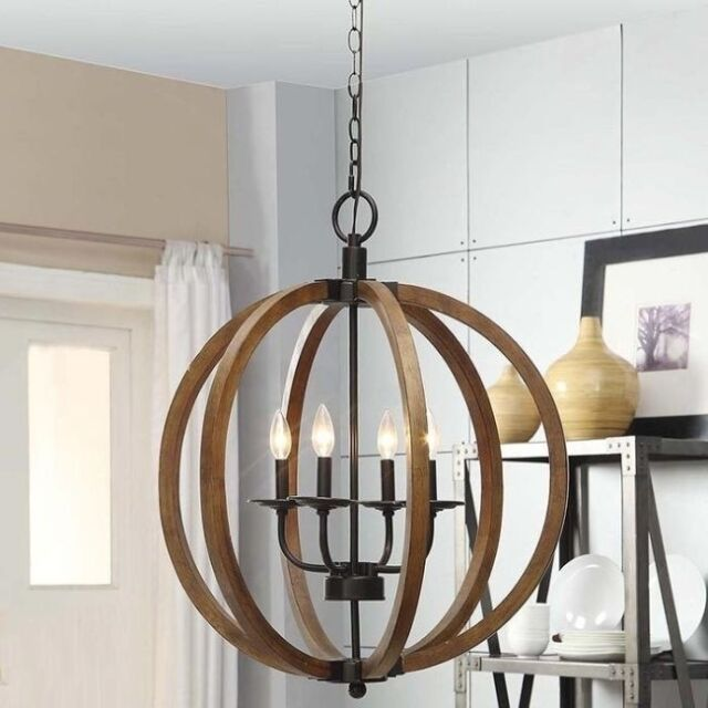 Rustic Orb Chandelier Lamp Wood Pendant Lighting Candle