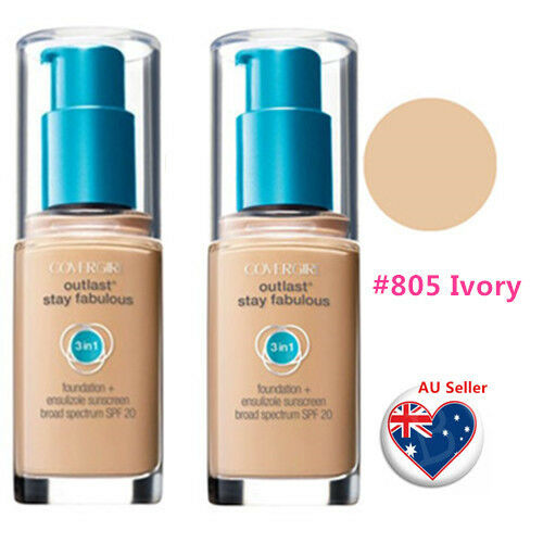 TWO Covergirl Outlast Stay Fabulous 3 in 1 Foundation  #805 IVORY Limited Stock