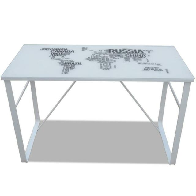 Rectangular Desk With Large MAP Pattern White Tempered Glass IRON Legs Stable