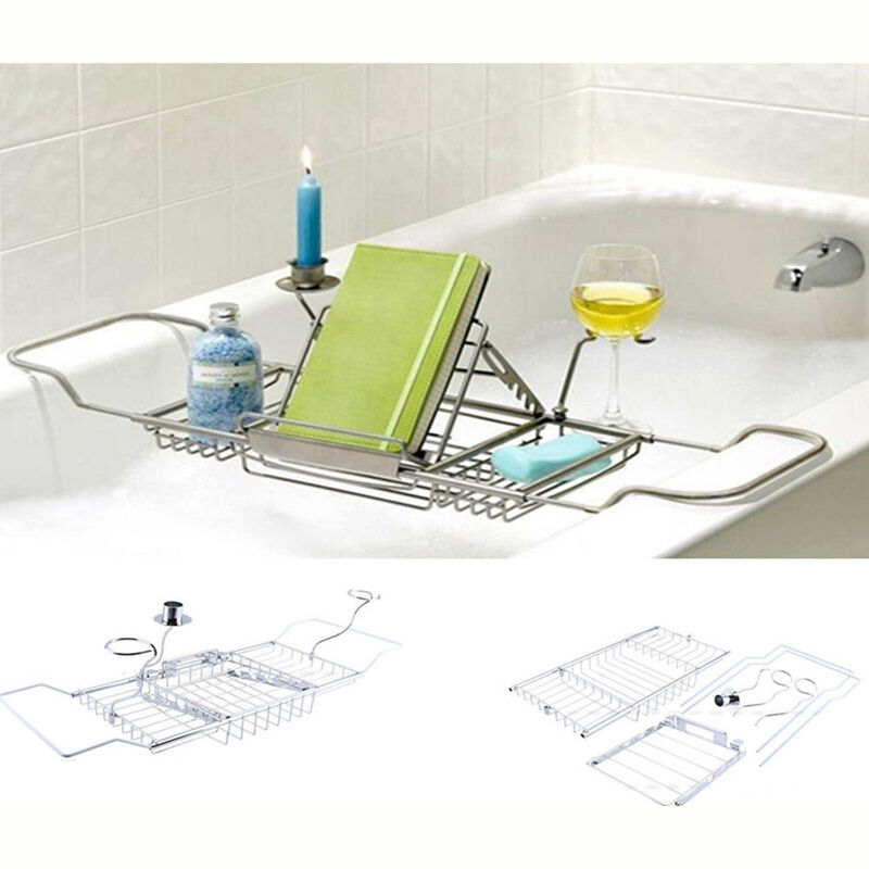 Expandable Bathtub Shelf Wine Caddy Holder Bathroom Storage ...