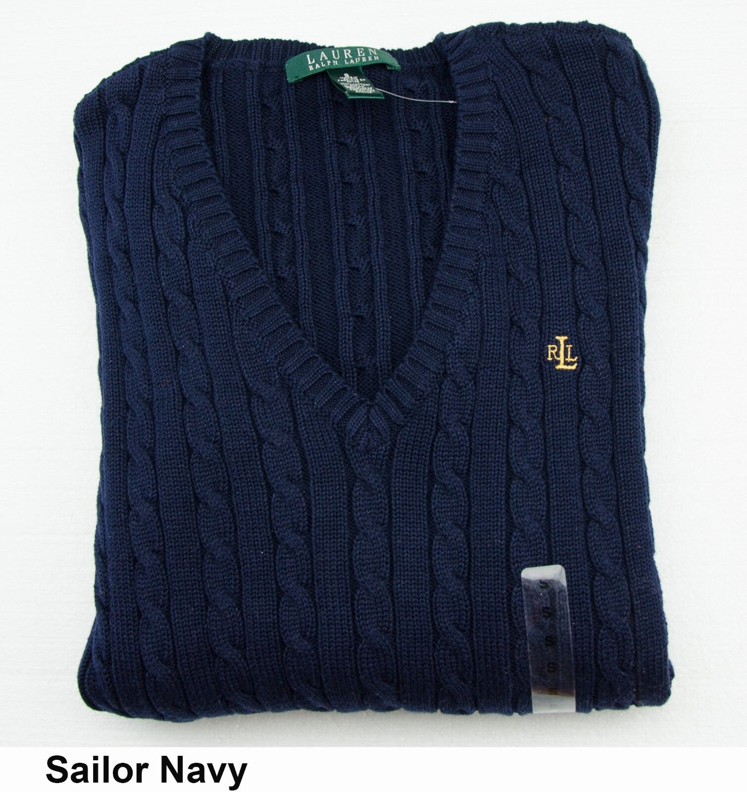 Polo Ralph Lauren Womens V Neck Cable Knit Sweater Sailor Navy X