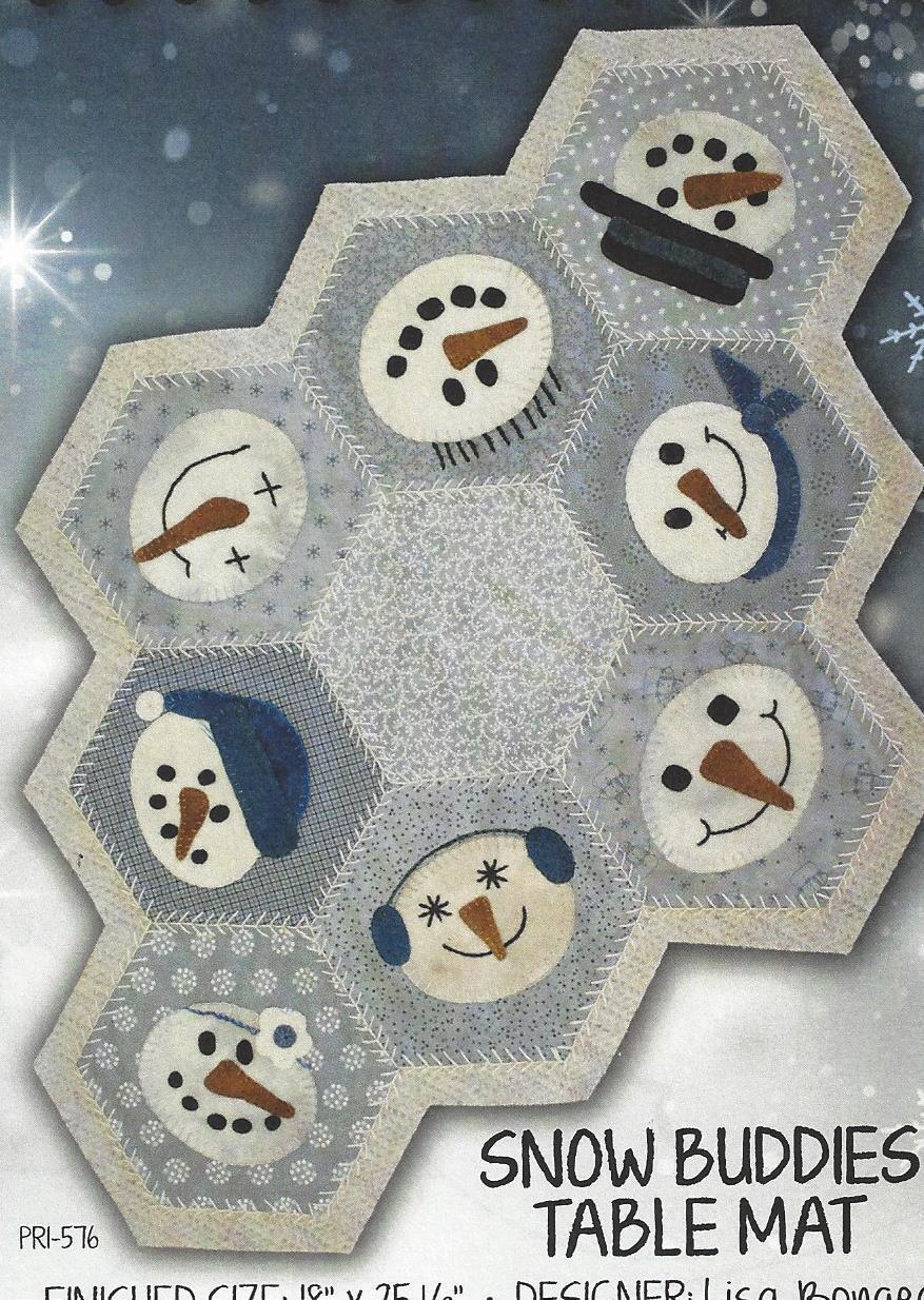 Snow Buddies Table Mat Applique Quilt Pattern Primitive Gatherings ...
