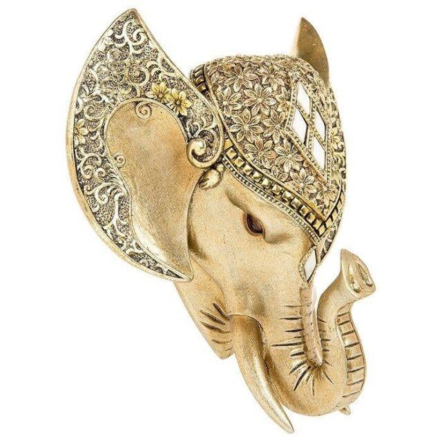 Golden Pearl Effect Elephant Head Wall Art Hanging Animal Trophy ...