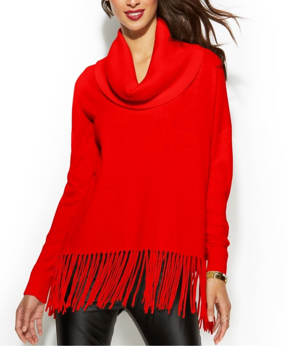 Michael Kors Red Womens Size Small S Fringe Cowl Neck Sweater 074 ...