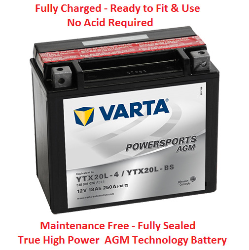 VARTA YTX20LBS Motorcycle Battery - OEM Replacement - 12V 18AH 250CCA 1 Yr Wrnt