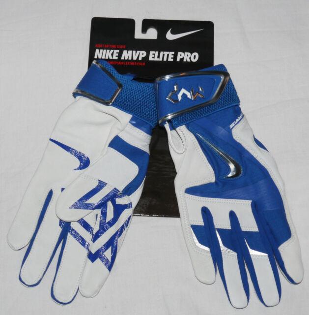 Nike Men's MVP Elite Pro Royal Blue/White/Chrome Batting Gloves **size