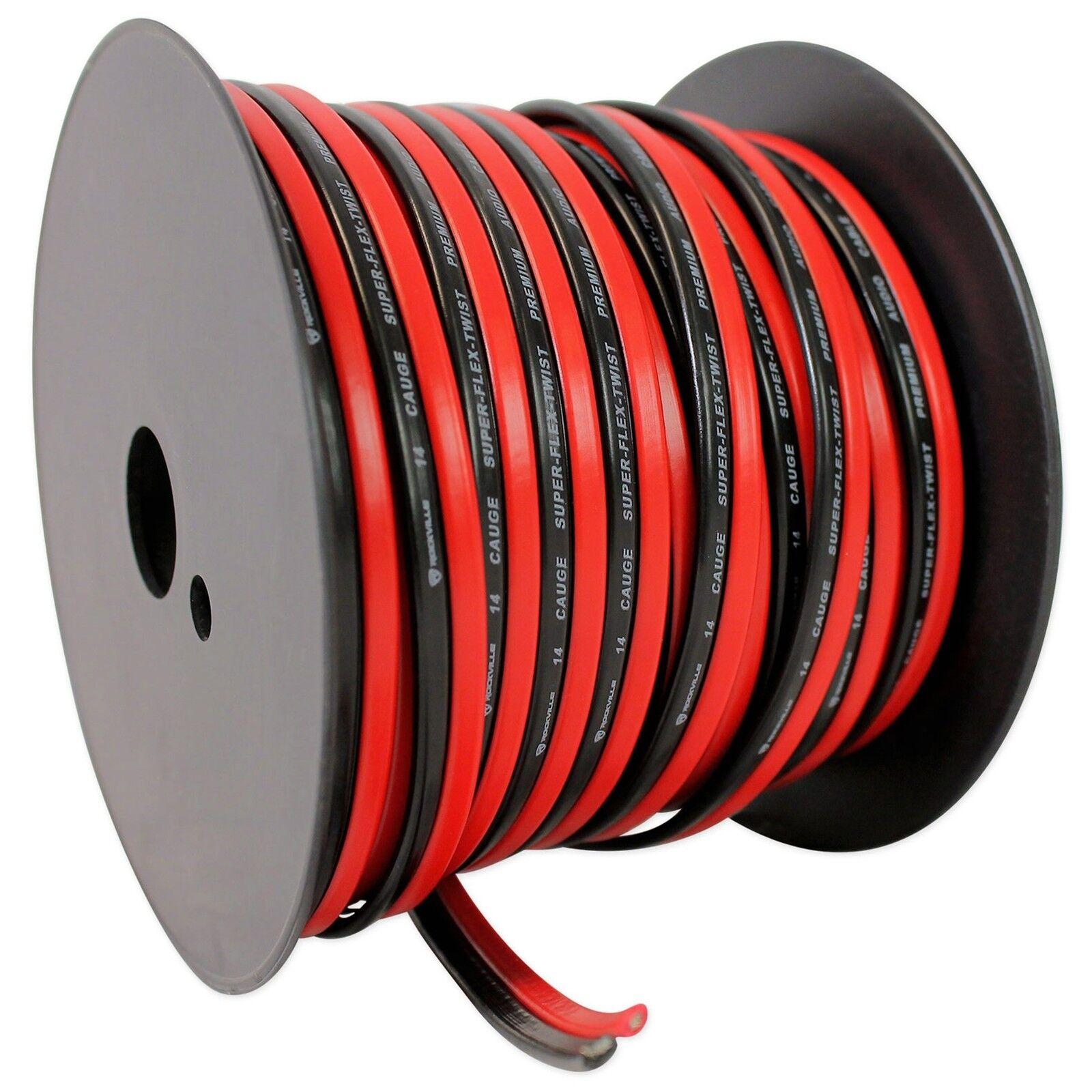 Rockville R14GSBR100 Red/black 14 Gauge 100\' Mini Spool Car Audio ...