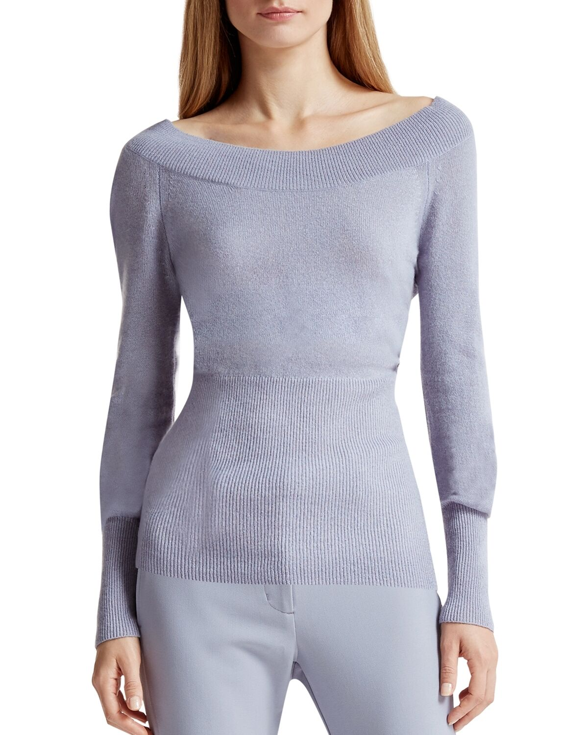 Halston Heritage Off-the-shoulder Cashmere Sweater Small Blue | eBay