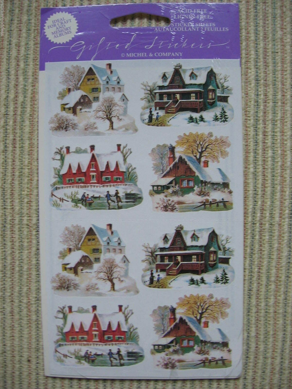 16 Gifted Line Vtg Stickers Christmas Winter Houses Homes Snow Ice