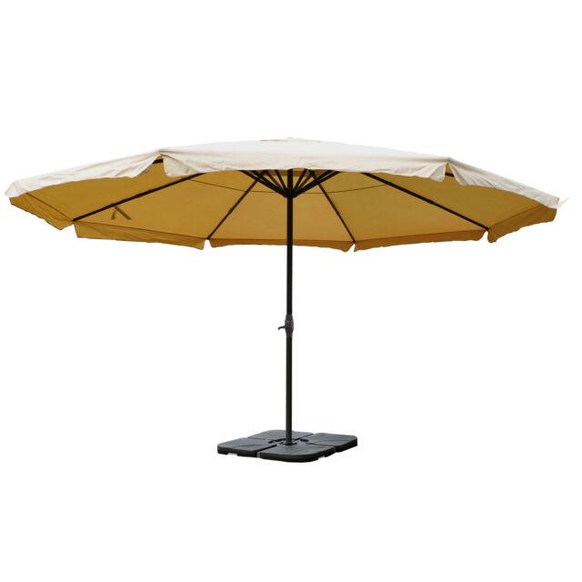 Alu-Sonnenschirm Carpi Pro, Marktschirm, mit Volant Ø 5m creme mit Ständer