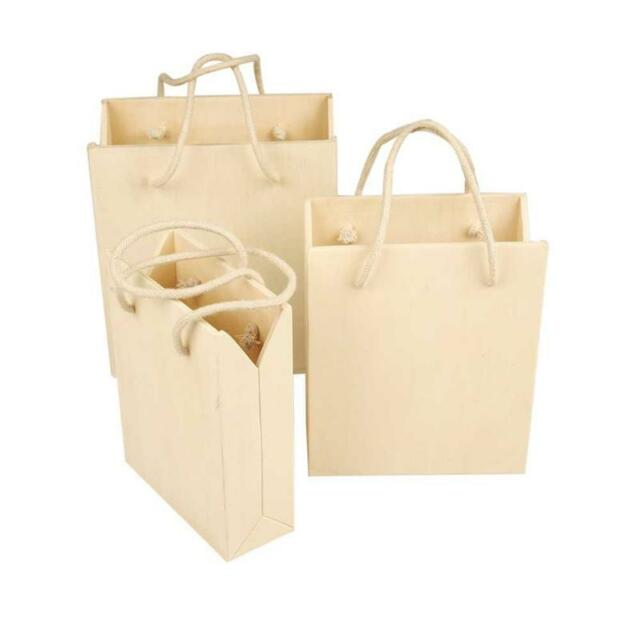 Set 3 Wooden Plywood Storage Gift Bag & Handles Decorate/Decoration Small Vases