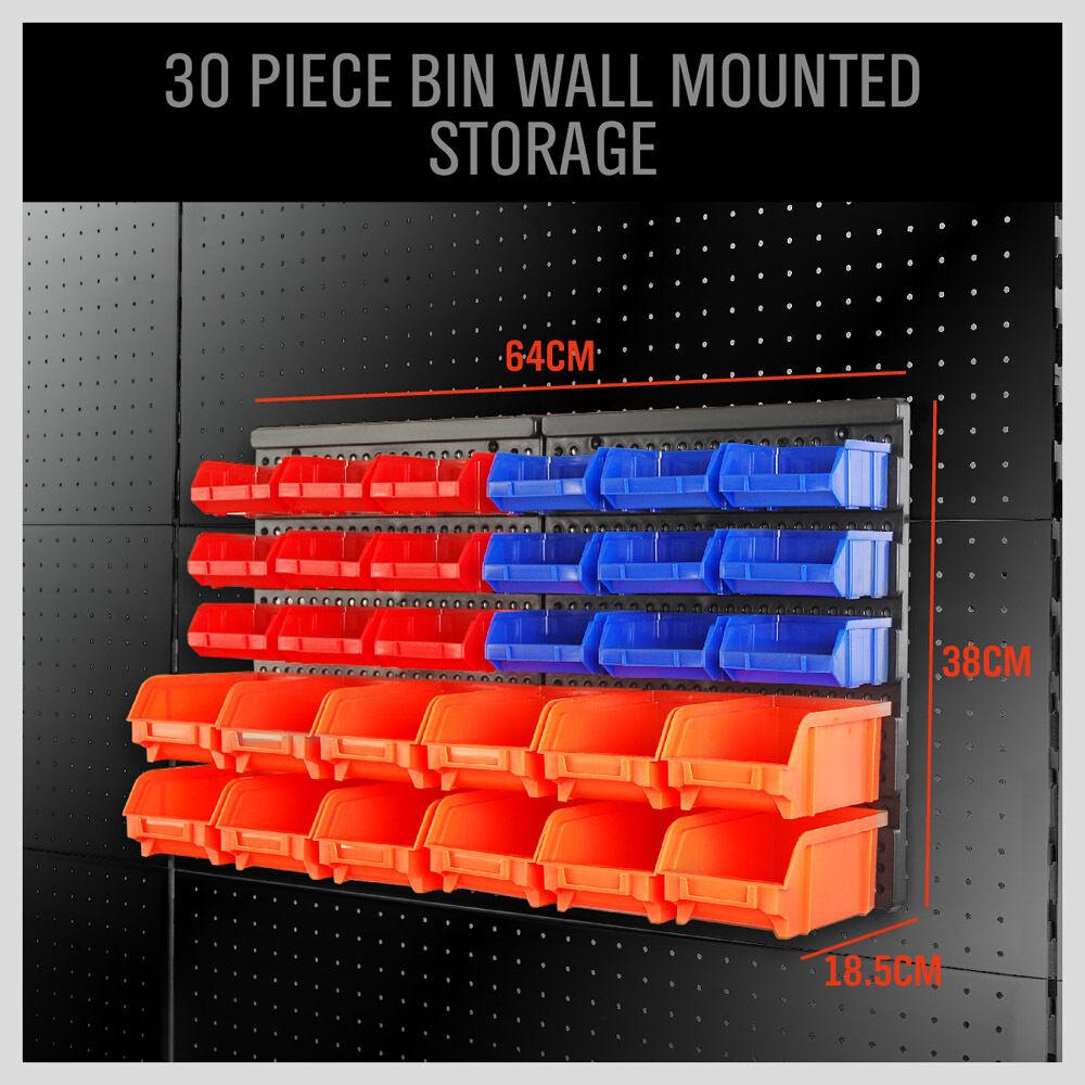 Wall Mounted Storage Bins Parts Rack 30 Bin Organizer Garage Plastic