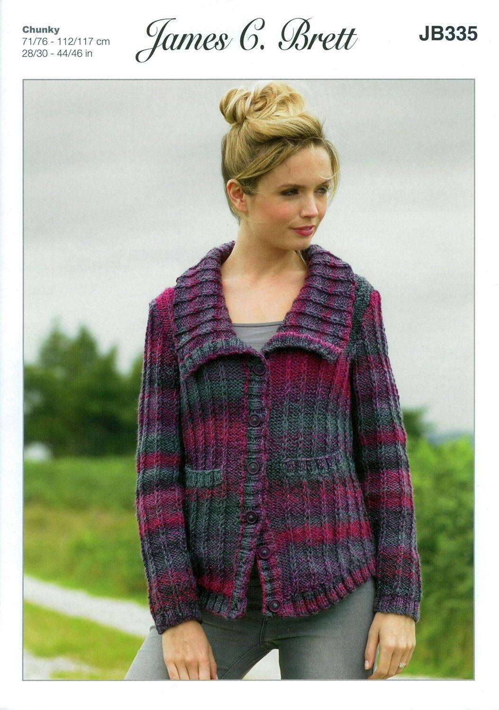 James C Brett Ladies Jacket Marble Chunky Yarn Knitting Pattern