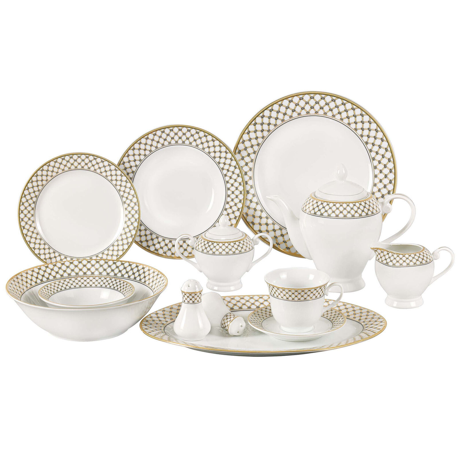 Picture 1 of 1  sc 1 st  eBay & Lorren Home Trends Anabelle 57 Piece Porcelain China Dinnerware Service for 8