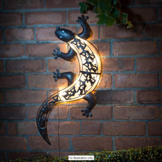 Outdoor Wall Lights Metal: Solar Powered Bright LED Light Gecko Metal Garden