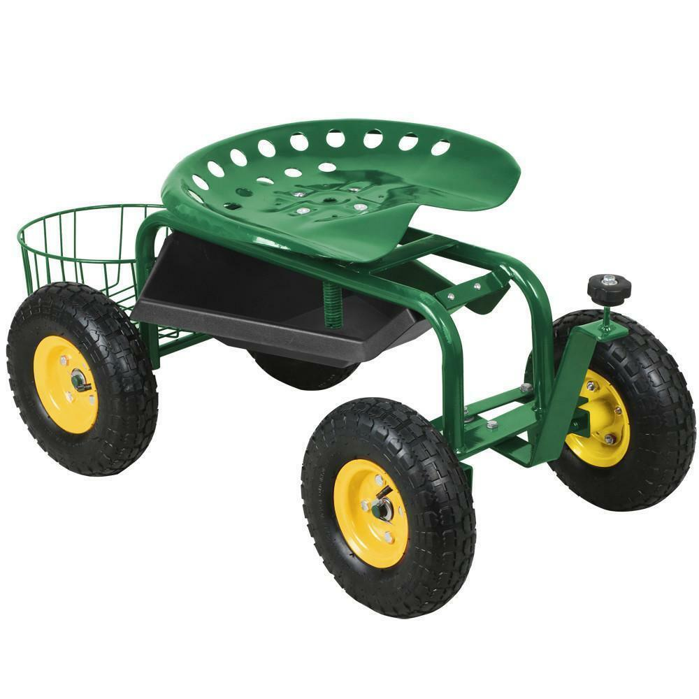 Heavy Duty Rolling Garden Cart Work Seat With Tool Tray Durable Planting  Green