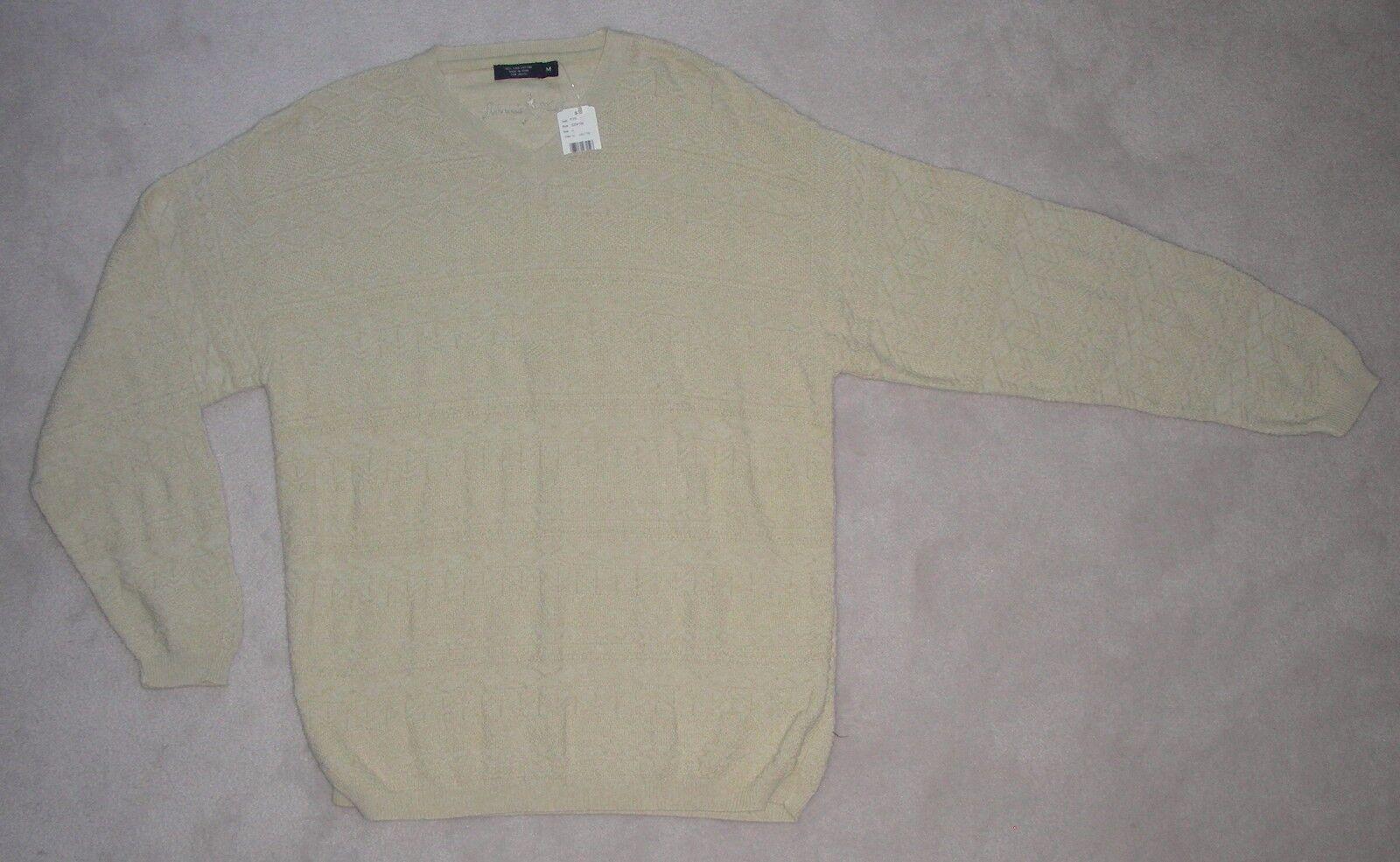 Mens Johnnie Walker Ivory White 100 Cotton V-neck Sweater Size M ...