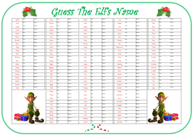 christmas fete party game guess the name of the elf 138 names size a1 ebay. Black Bedroom Furniture Sets. Home Design Ideas