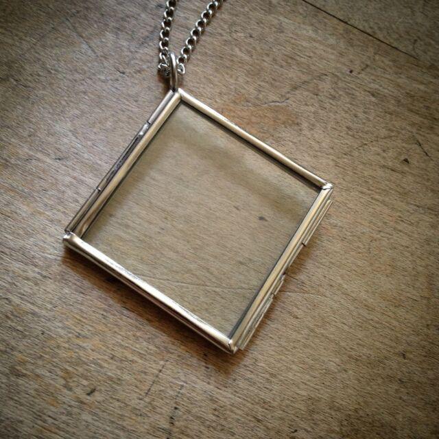 Two sided square diamond geometric silver glass frame necklace two sided square diamond geometric silver glass frame necklace pendant chain aloadofball Choice Image