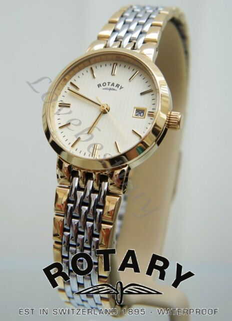 ROTARY LADIES SWISS WATCH  SELF ADJUSTABLE  BRACELET  GOLD Pl WATCH NEW RRP £150