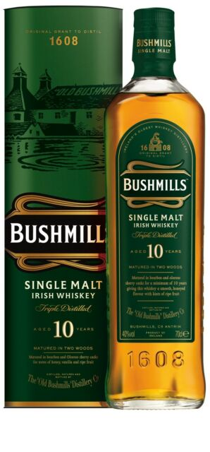 (34,73€/l) Bushmills 10 Jahre Single Malt Irish Whiskey 40% 0,7l Whisky Flasche
