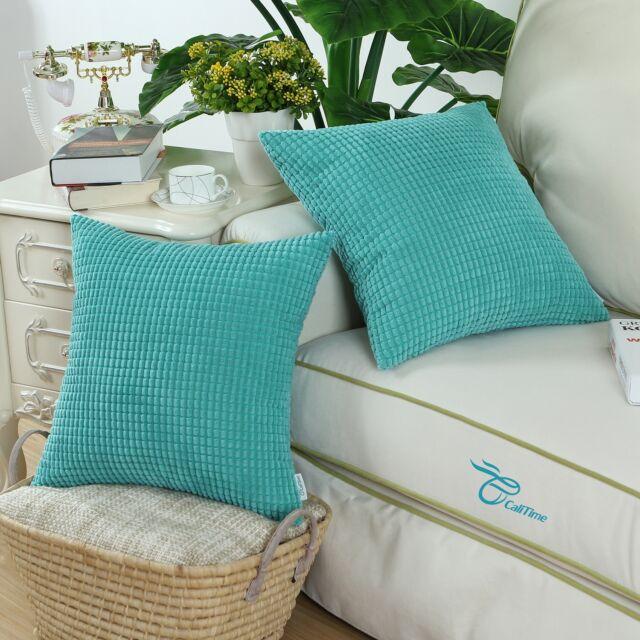 2PCS Square Cushion Cover Pillow Shell Turquoise Corduroy Corn Striped Home 45cm