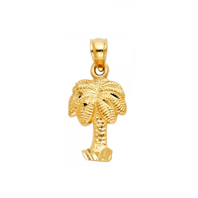 Solid 14k yellow gold palm tree charm pendant ebay 14k solid yellow gold palm tree pendant plant dia cut necklace charm women men mozeypictures Gallery