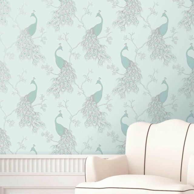 Peacock Wallpaper - Shabby Chic - Empress - Duck Egg Teal -Fine Decor FD40713