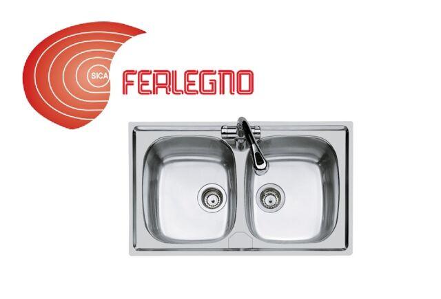 Lavello cucina 2 vasche incasso 86x50 acciaio inox Mod.s1000 Art ...