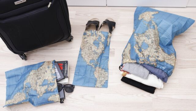 World map design travel bags set of 4 by kikkerland ebay kikkerland travel size set of 3 world map bags shoes laundry bag compact pouch gumiabroncs Gallery
