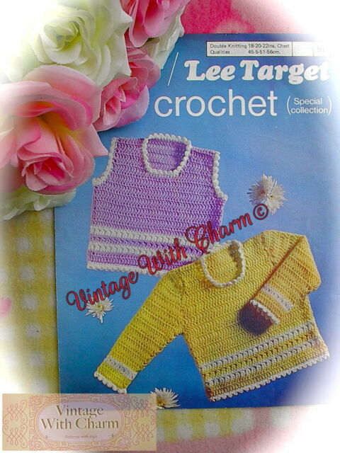 Vintage Crochet Pattern Baby Girls Sweater Jumper Tank Top Just