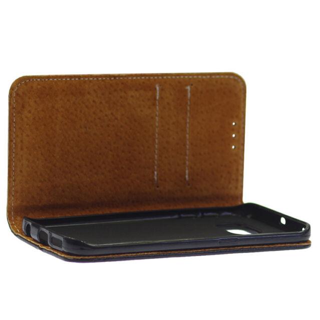 Echtleder Flexi Book Tasche Schutzhülle für Samsung Galaxy S6 Edge - Schwarz